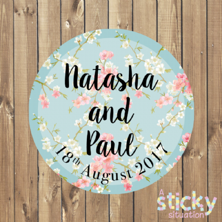 Personalised Wedding Stickers - Floral Cherry Blossom Design